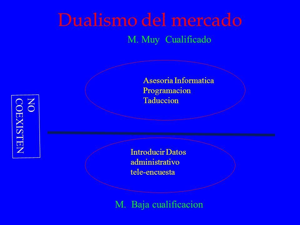 Dualismo del mercado M. Muy Cualificado M. Baja cualificacion Asesoria Informatica Programacion Taduccion Introducir Datos administrativo tele-encuest