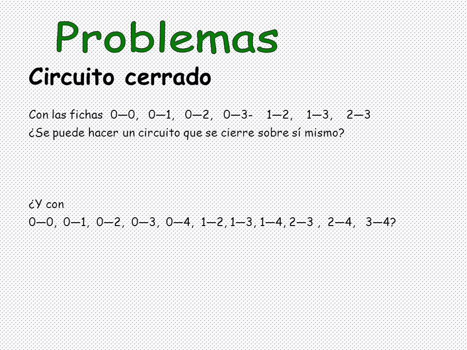 Con las fichas 00, 01, 02, 03- 12, 13, 23 ¿Se puede hacer un circuito que se cierre sobre sí mismo? ¿Y con 00, 01, 02, 03, 04, 12, 13, 14, 23, 24, 34?
