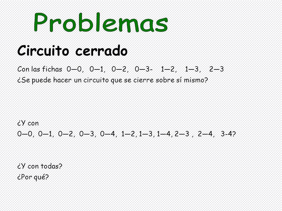 Con las fichas 00, 01, 02, 03- 12, 13, 23 ¿Se puede hacer un circuito que se cierre sobre sí mismo? ¿Y con 00, 01, 02, 03, 04, 12, 13, 14, 23, 24, 3-4