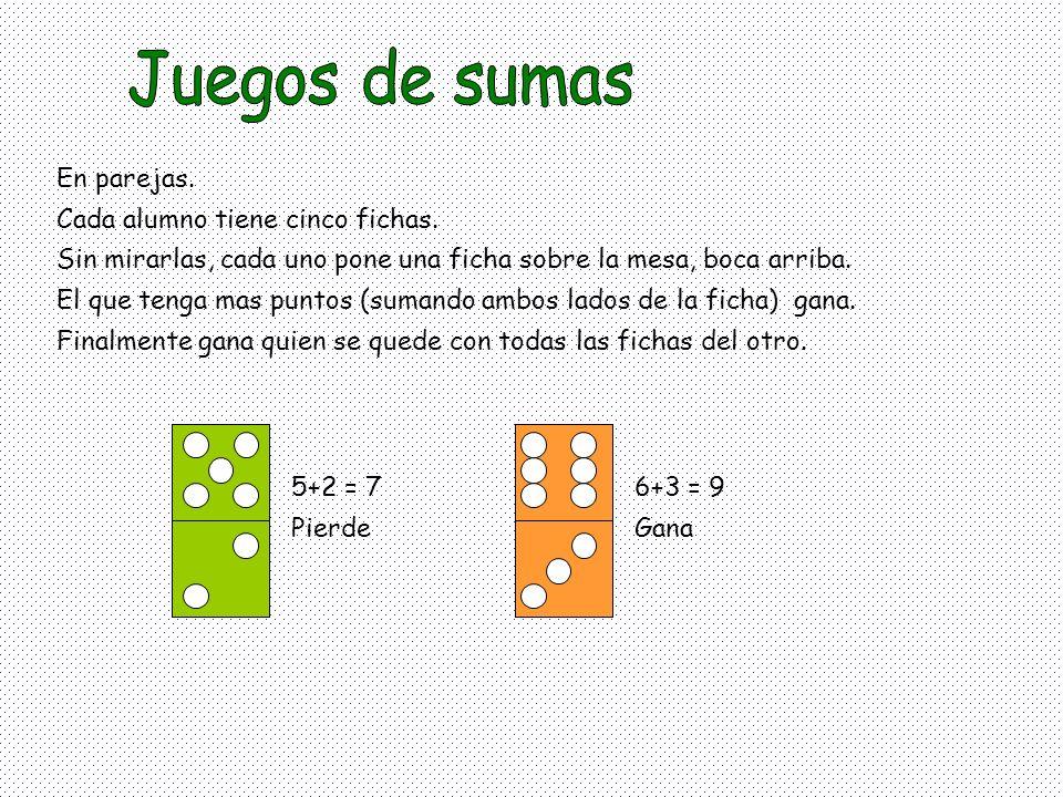 En parejas. Cada alumno tiene cinco fichas. Sin mirarlas, cada uno pone una ficha sobre la mesa, boca arriba. El que tenga mas puntos (sumando ambos l