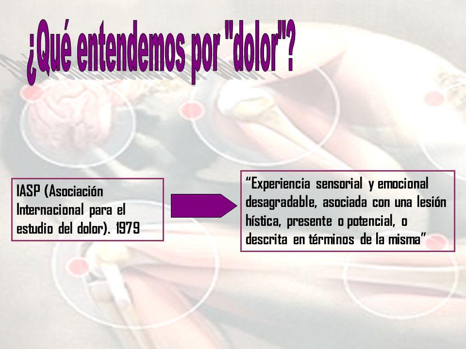 Experiencia sensorial y emocional desagradable, asociada con una lesión hística, presente o potencial, o descrita en términos de la misma IASP (Asocia