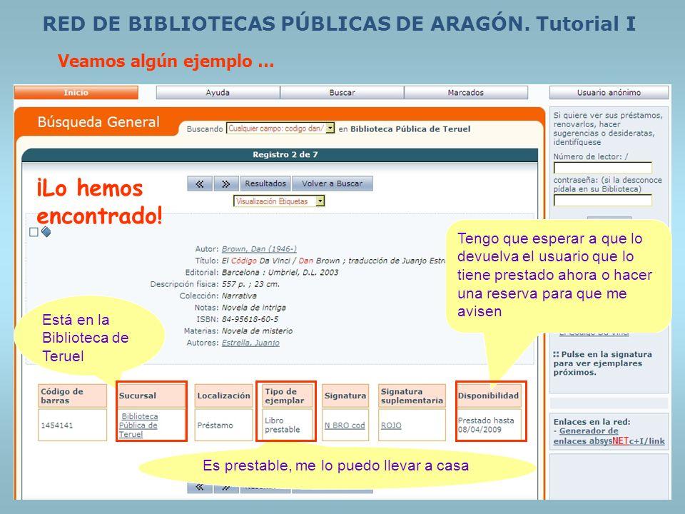 RED DE BIBLIOTECAS PÚBLICAS DE ARAGÓN. Tutorial I Veamos algún ejemplo … Está en la Biblioteca de Teruel Es prestable, me lo puedo llevar a casa Tengo