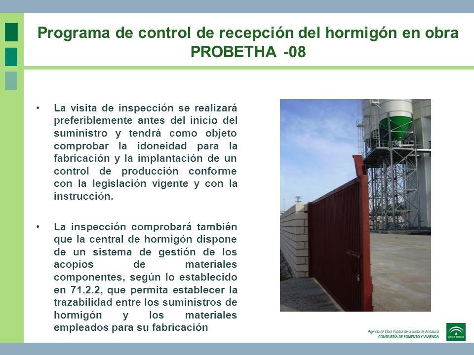 Programa de control de recepción del hormigón en obra PROBETHA -08 La visita de inspección se realizará preferiblemente antes del inicio del suministr