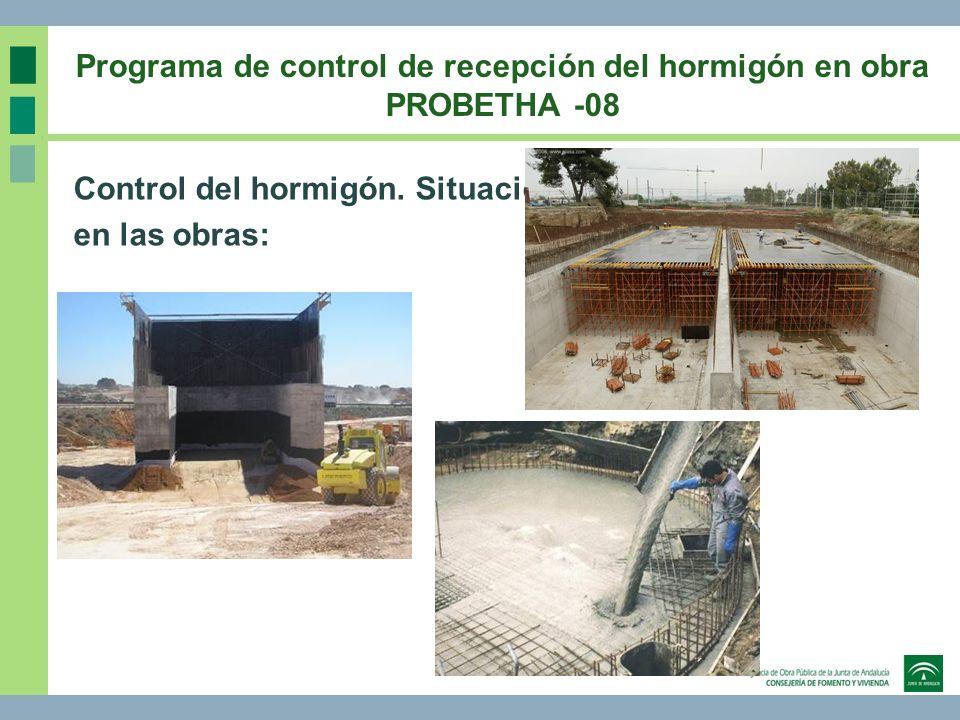Programa de control de recepción del hormigón en obra PROBETHA -08 Control del hormigón. Situación en las obras: