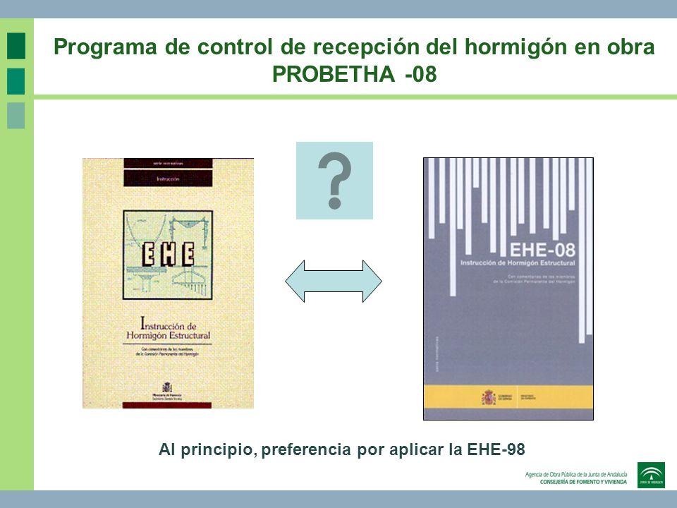 Programa de control de recepción del hormigón en obra PROBETHA -08 Al principio, preferencia por aplicar la EHE-98