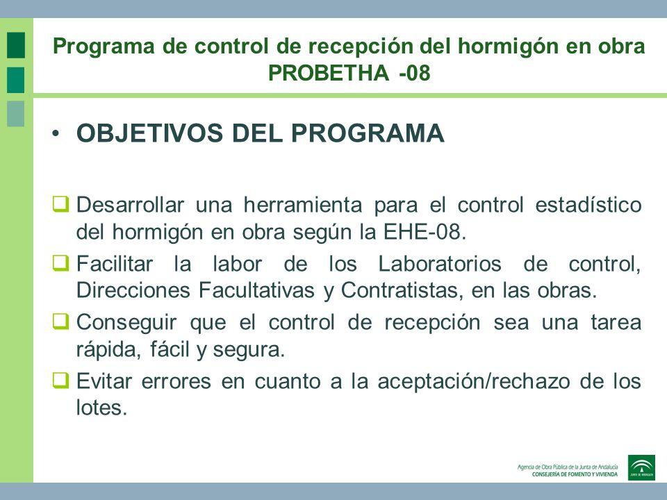 OBJETIVOS DEL PROGRAMA Desarrollar una herramienta para el control estadístico del hormigón en obra según la EHE-08. Facilitar la labor de los Laborat