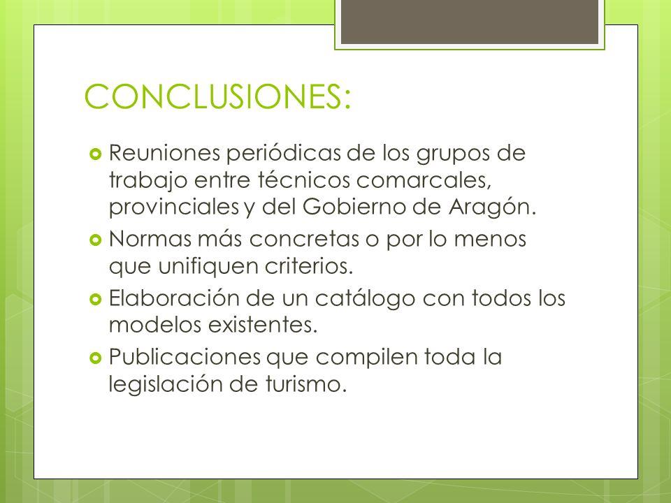 CONCLUSIONES: Reuniones periódicas de los grupos de trabajo entre técnicos comarcales, provinciales y del Gobierno de Aragón. Normas más concretas o p
