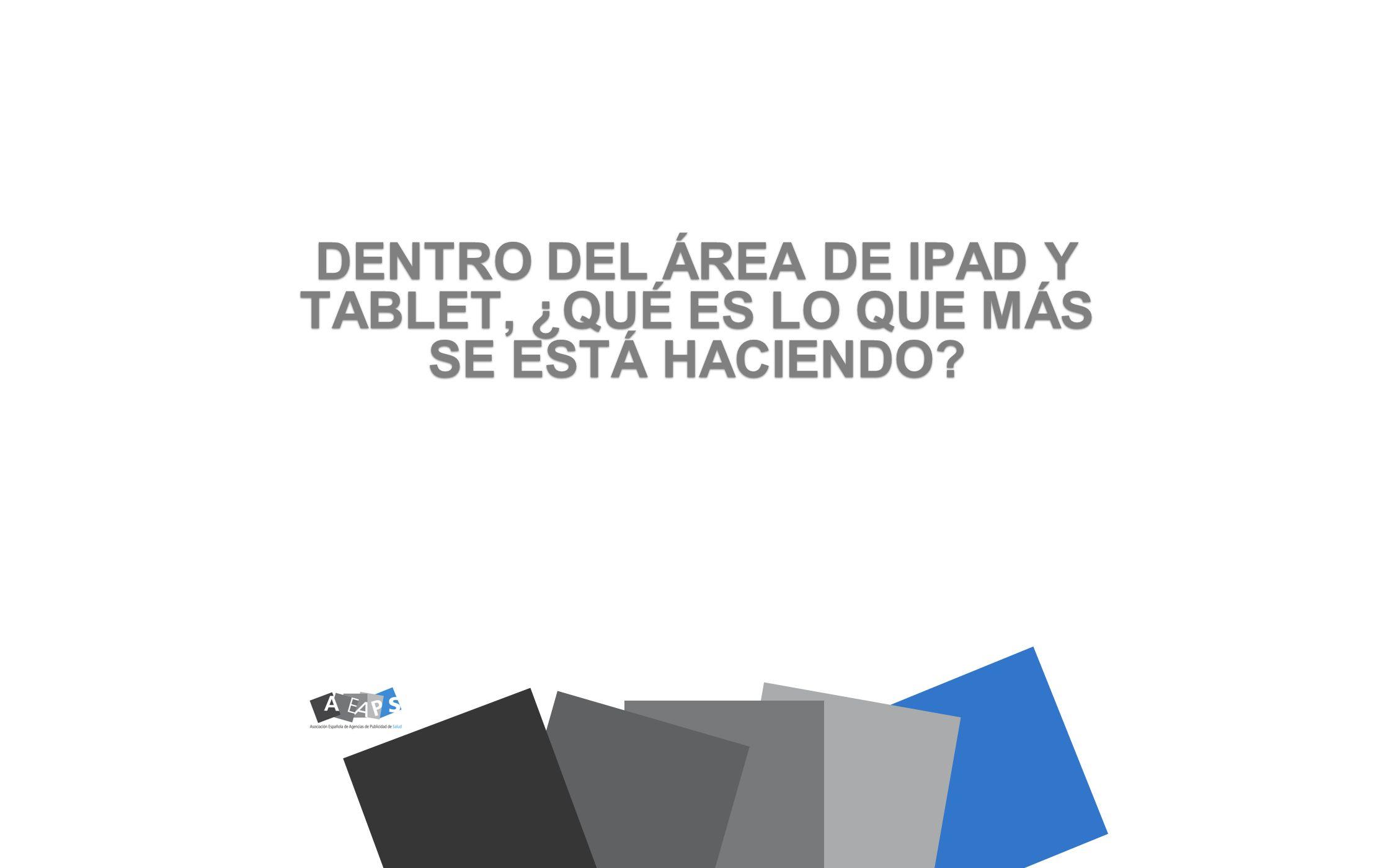 EL VISUAL AID DE VISITA MÉDICA ES EL MAYOR APARTADO (33,5 %) LOS APARTADOS QUE LE SIGUEN EN IMPORTANCIA, DENTRO DEL ÁREA IPAD, SON CLM DE VISITA MÉDICA (22,4%), TRANSCRIPCIÓN DE PDF (14,1%) Y VISUAL-AID DE FORMACIÓN MÉDICA (8,8%)