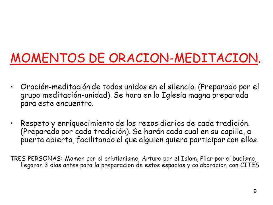 9 MOMENTOS DE ORACION-MEDITACION. Oración-meditación de todos unidos en el silencio. (Preparado por el grupo meditación-unidad). Se hara en la Iglesia