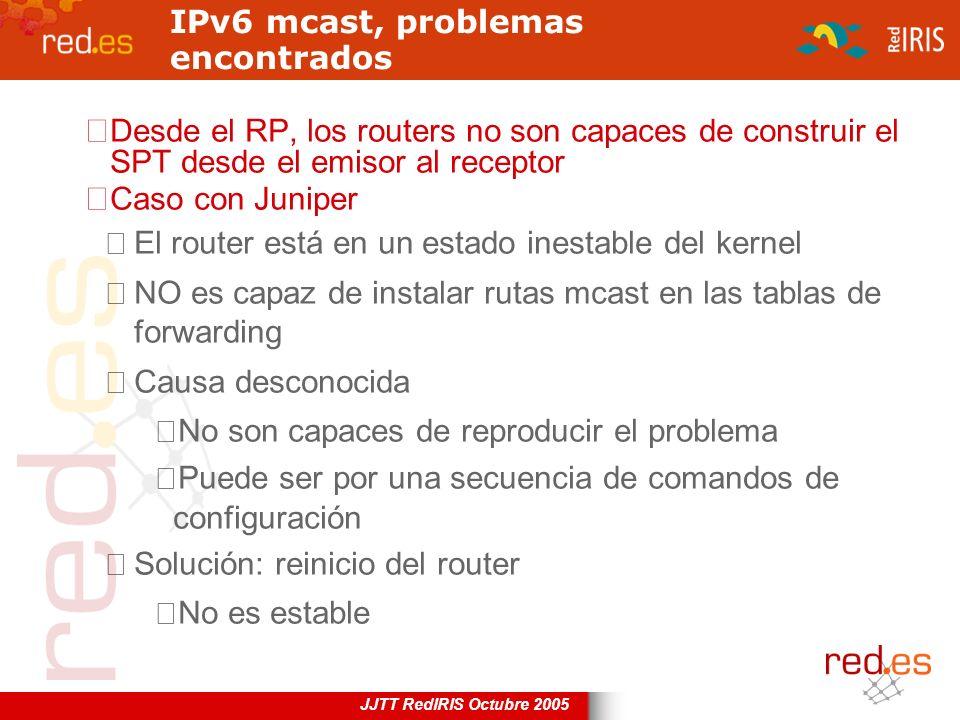 JJTT RedIRIS Octubre 2005 IPv6 mcast, problemas encontrados Desde el RP, los routers no son capaces de construir el SPT desde el emisor al receptor Ca