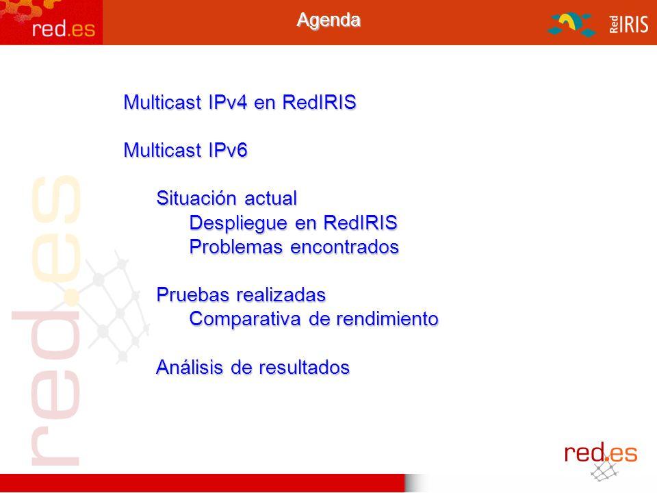 1Agenda Multicast IPv4 en RedIRIS Multicast IPv6 Situación actual Despliegue en RedIRIS Problemas encontrados Pruebas realizadas Comparativa de rendim
