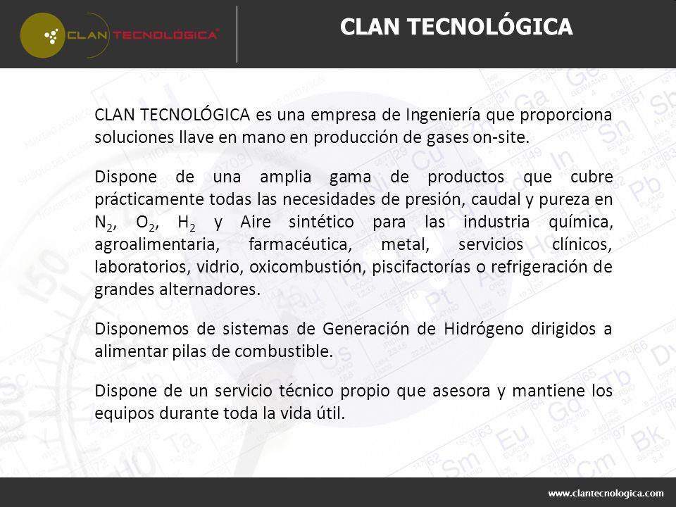 CLAN TECNOLÓGICA es una empresa de Ingeniería que proporciona soluciones llave en mano en producción de gases on-site. Dispone de una amplia gama de p