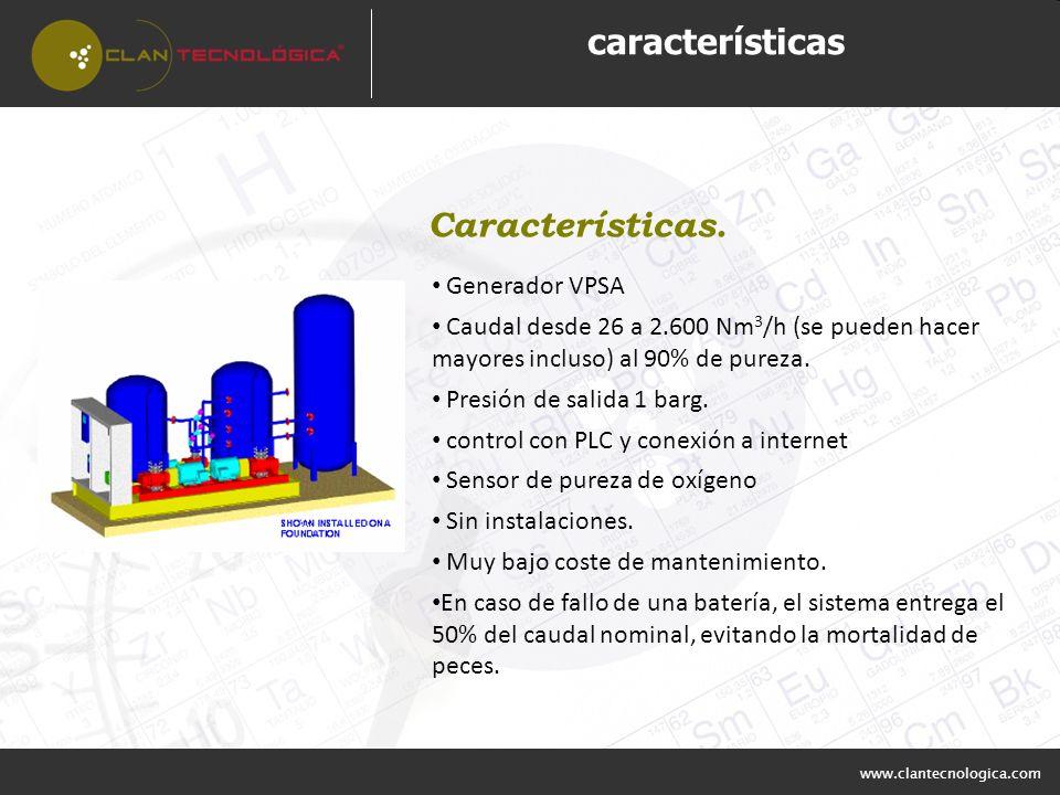www.clantecnologica.com características Generador VPSA Caudal desde 26 a 2.600 Nm 3 /h (se pueden hacer mayores incluso) al 90% de pureza. Presión de