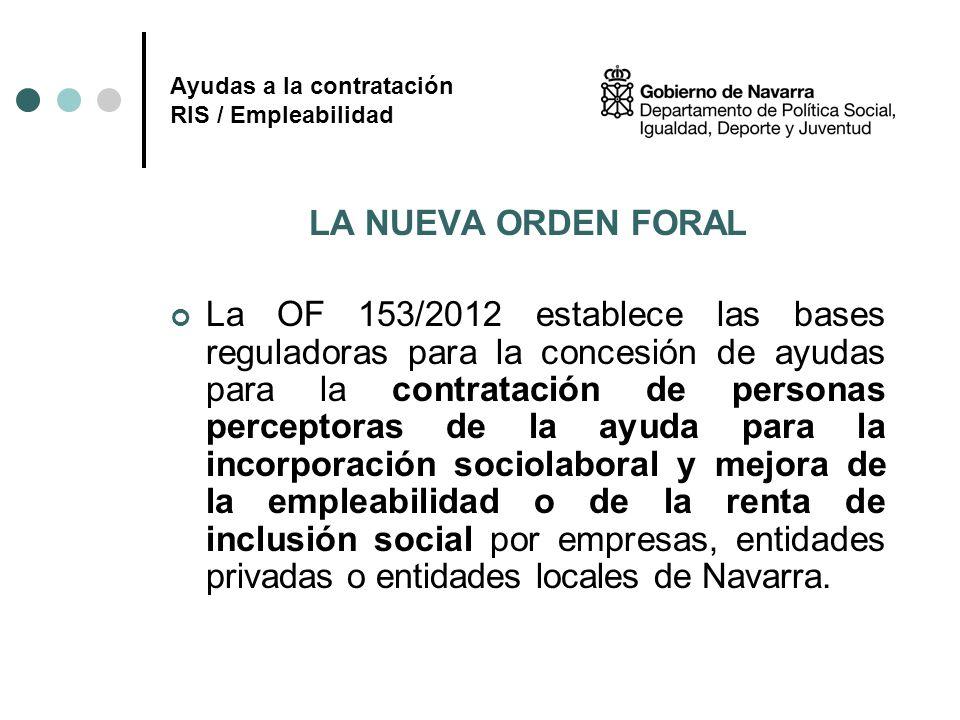 Ayudas a la contratación RIS / Empleabilidad LA NUEVA ORDEN FORAL La OF 153/2012 establece las bases reguladoras para la concesión de ayudas para la c