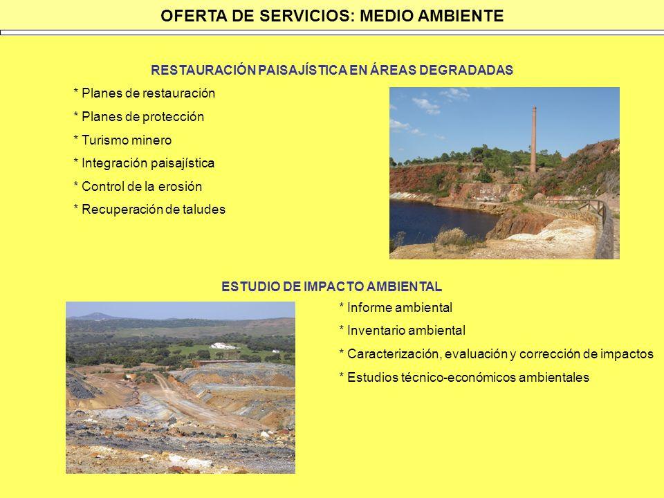 OFERTA DE SERVICIOS: MEDIO AMBIENTE RESTAURACIÓN PAISAJÍSTICA EN ÁREAS DEGRADADAS * Planes de restauración * Planes de protección * Turismo minero * I