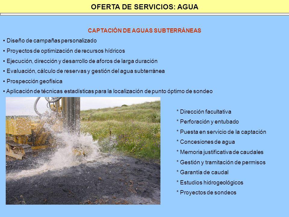 OFERTA DE SERVICIOS: AGUA CAPTACIÓN DE AGUAS SUBTERRÁNEAS Diseño de campañas personalizado Proyectos de optimización de recursos hídricos Ejecución, d