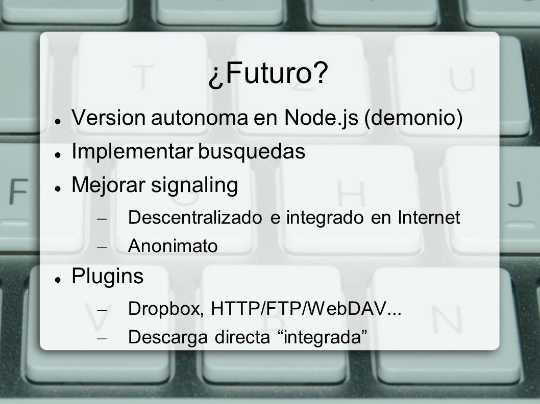 Version autonoma en Node.js (demonio) Implementar busquedas Mejorar signaling – Descentralizado e integrado en Internet – Anonimato Plugins – Dropbox,