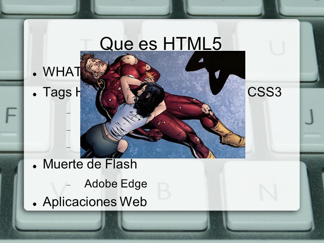 Referencias Info – http://www.slideshare.net/kevingill/html5-presentation http://www.slideshare.net/kevingill/html5-presentation – http://dev.opera.com/articles/view/window-postmessage- messagechannel http://dev.opera.com/articles/view/window-postmessage- messagechannel – http://dev.w3.org/2011/webrtc/editor/webrtc.html http://dev.w3.org/2011/webrtc/editor/webrtc.html – http://webp2p.org http://webp2p.org Codigo – https://github.com/piranna/DataChannel-polyfill https://github.com/piranna/DataChannel-polyfill – https://github.com/piranna/ShareIt https://github.com/piranna/ShareIt