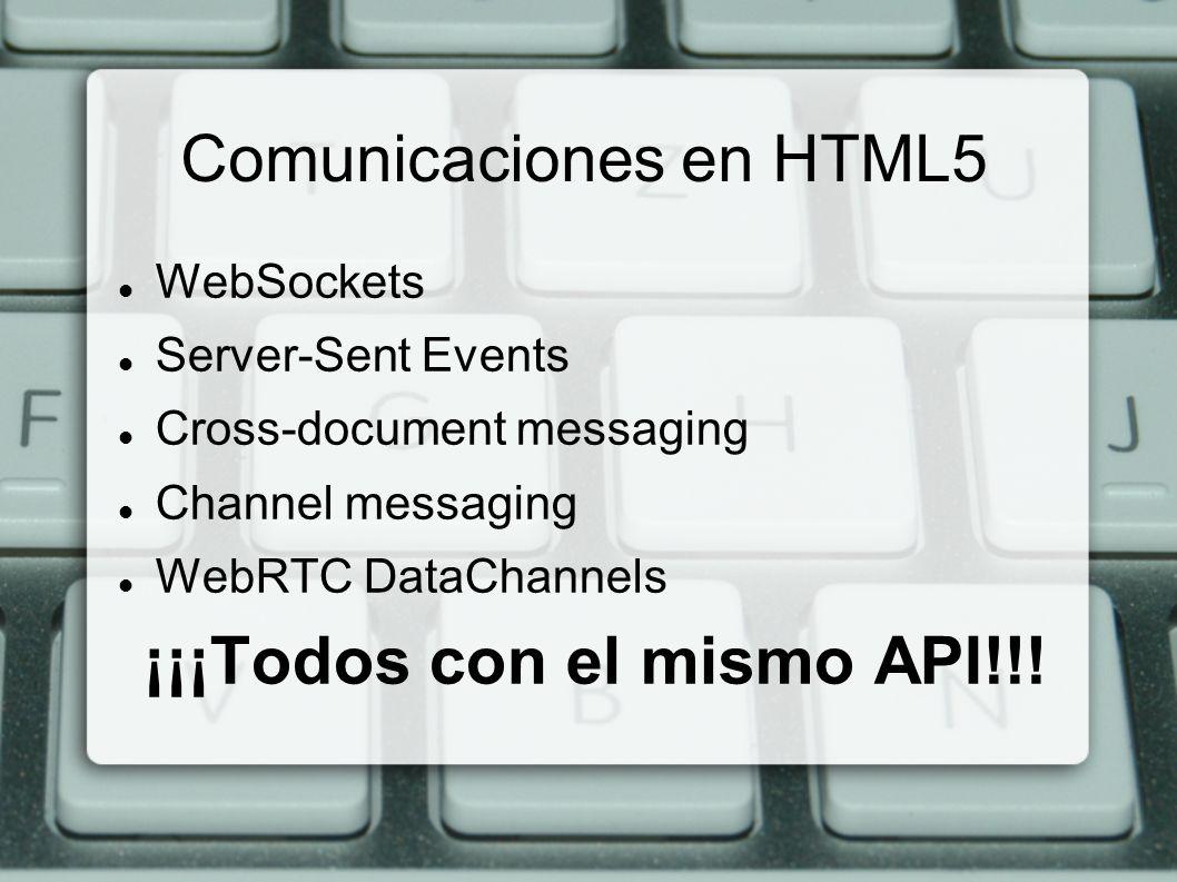 WebSockets y Server Events WebSockets Conexión bi-direccional con el servidor Tiempo real Adios comet y long-polling Server-Sent Events Comunicacion uni-direccional con el cliente Funcion inversa a XHR