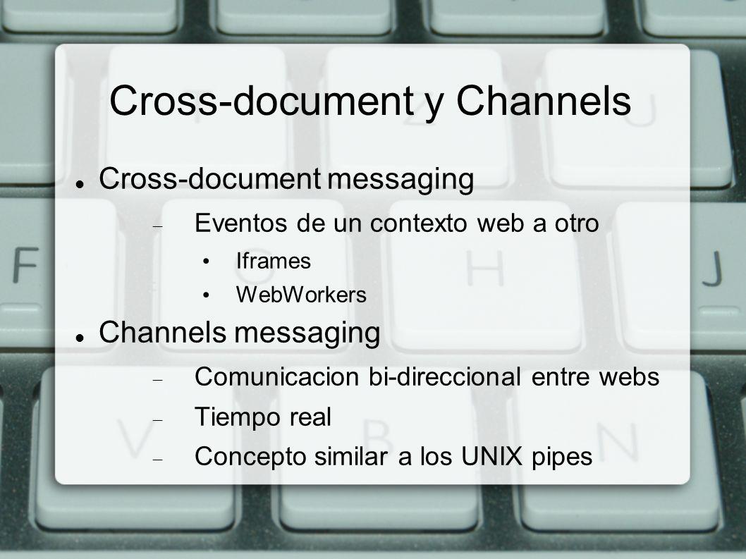 Cross-document y Channels Cross-document messaging Eventos de un contexto web a otro Iframes WebWorkers Channels messaging Comunicacion bi-direccional