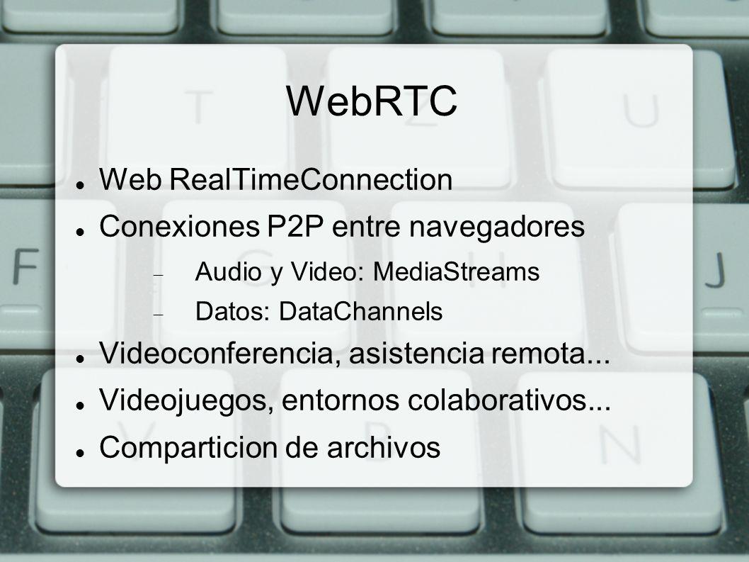 WebRTC Web RealTimeConnection Conexiones P2P entre navegadores Audio y Video: MediaStreams Datos: DataChannels Videoconferencia, asistencia remota...