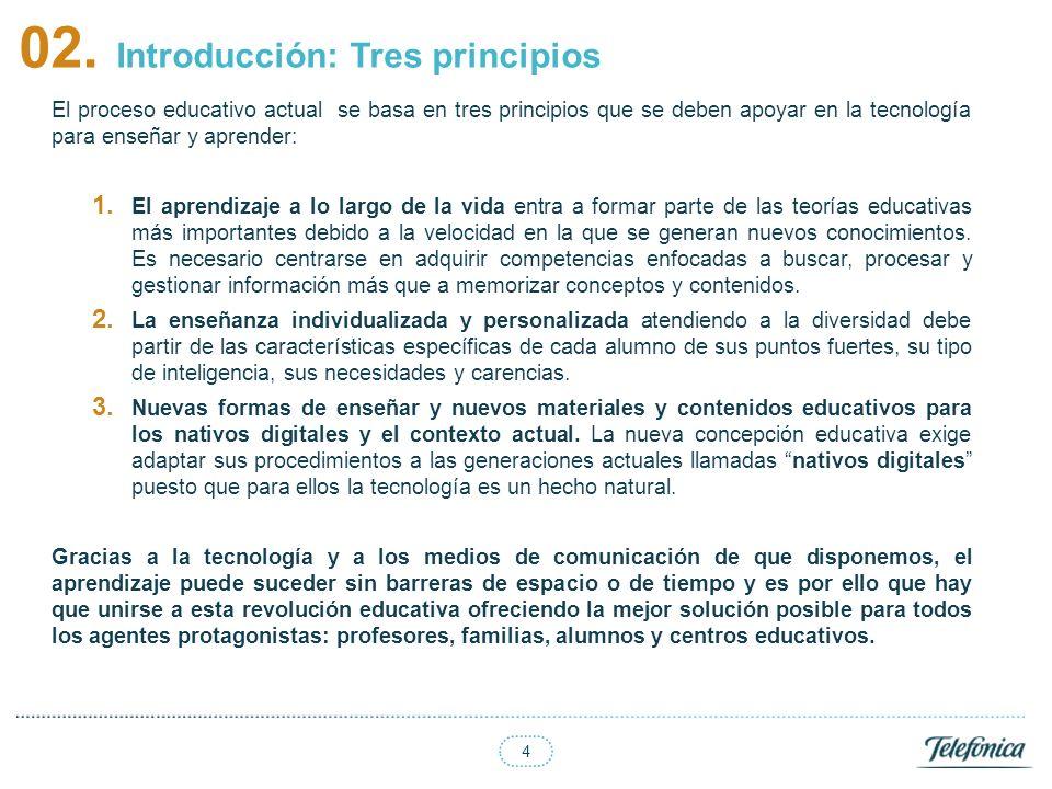 4 02. Introducción: Tres principios El proceso educativo actual se basa en tres principios que se deben apoyar en la tecnología para enseñar y aprende