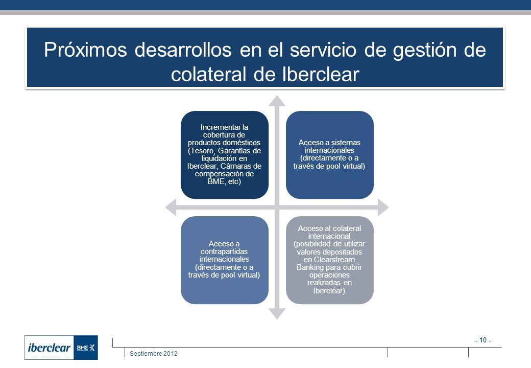 - 10 - Septiembre 2012 Incrementar la cobertura de productos domésticos (Tesoro, Garantías de liquidación en Iberclear, Cámaras de compensación de BME