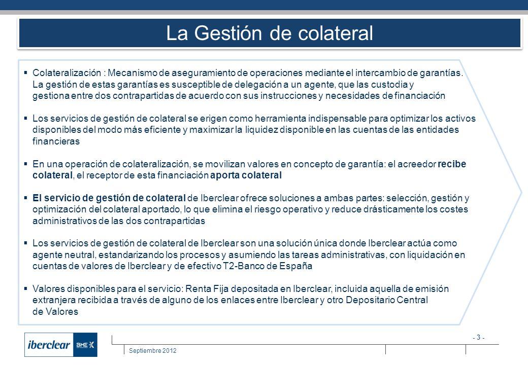 - 3 - Septiembre 2012 La Gestión de colateral Colateralización : Mecanismo de aseguramiento de operaciones mediante el intercambio de garantías. La ge