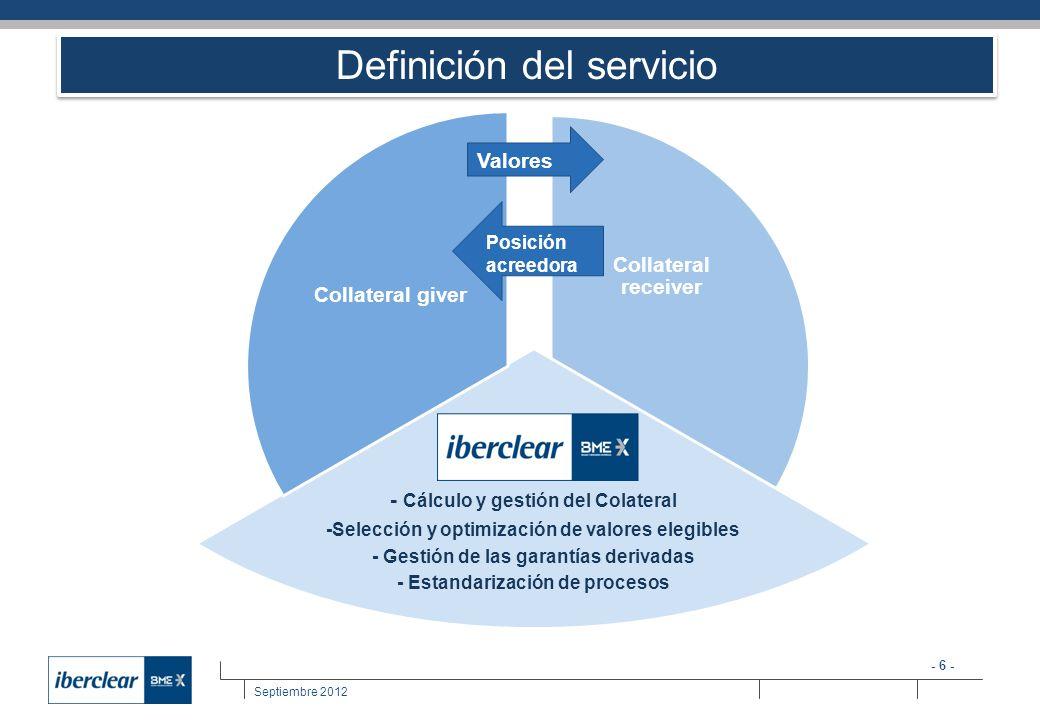 - 6 - Septiembre 2012 Definición del servicio Collateral receiver - Cálculo y gestión del Colateral -Selección y optimización de valores elegibles - G