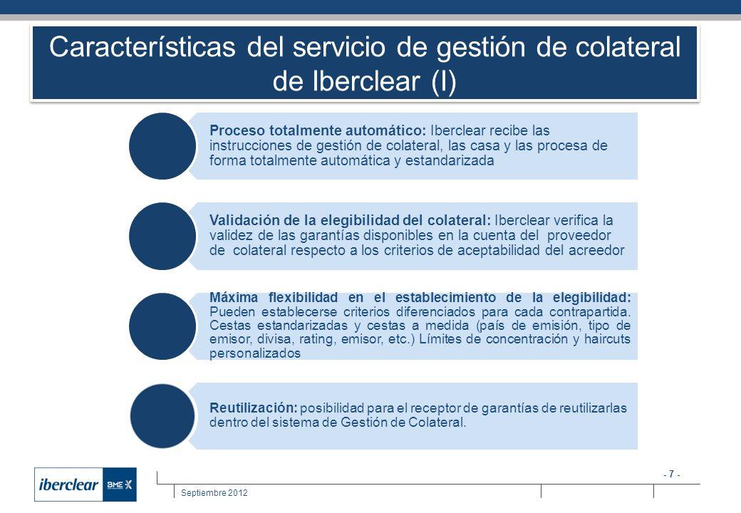 - 7 - Septiembre 2012 Características del servicio de gestión de colateral de Iberclear (I) Proceso totalmente automático: Iberclear recibe las instru