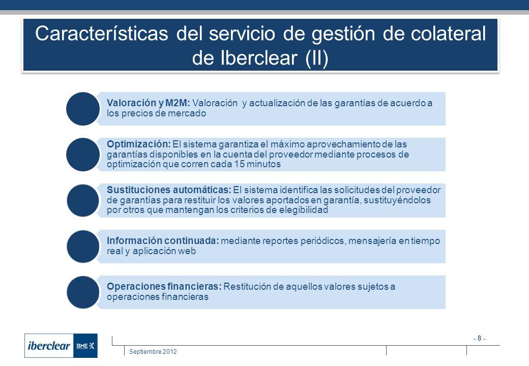 - 9 - Septiembre 2012 Cobertura del servicio de gestión de colateral de Iberclear (Primera fase) Operaciones con Banco de España Operaciones de política monetaria Entre entidades participantes Triparty Repo Cobertura de carteras bilaterales Tipo de colateral aceptado Renta Fija registrada en Iberclear