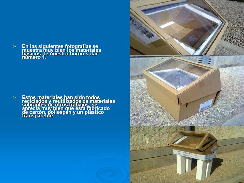 En las siguientes fotografías se muestra muy bien los materiales básicos de nuestro horno solar número 1. En las siguientes fotografías se muestra muy