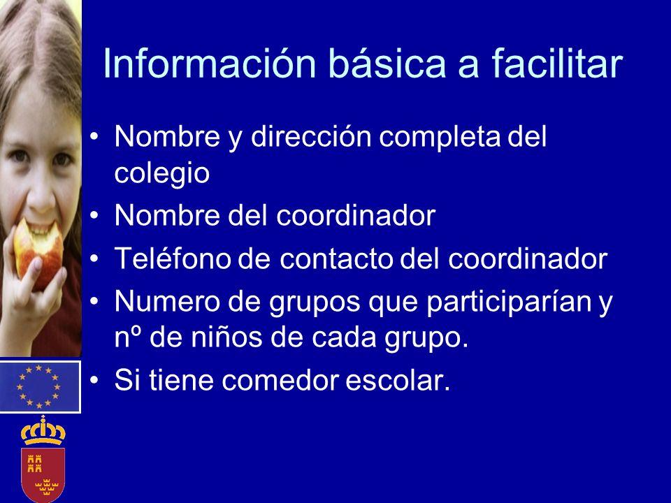 Información básica a facilitar Nombre y dirección completa del colegio Nombre del coordinador Teléfono de contacto del coordinador Numero de grupos qu