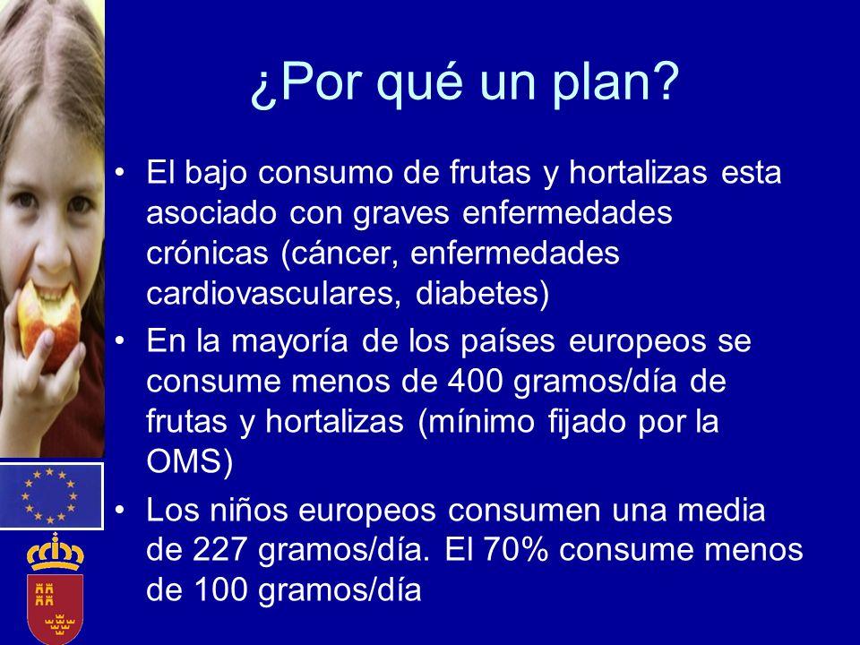 ¿Por qué un plan? El bajo consumo de frutas y hortalizas esta asociado con graves enfermedades crónicas (cáncer, enfermedades cardiovasculares, diabet