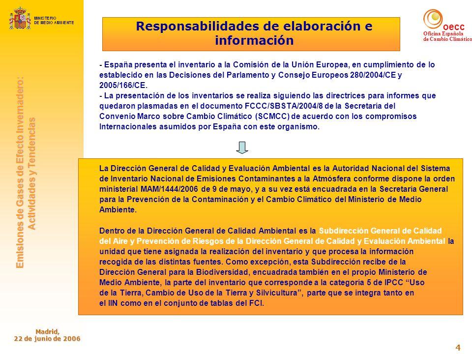 oecc Oficina Española de Cambio Climático Emisiones de Gases de Efecto Invernadero: Emisiones de Gases de Efecto Invernadero: Actividades y Tendencias Actividades y Tendencias Madrid, 22 de junio de 2006 5 Responsabilidades de elaboración e información (cont.) -.