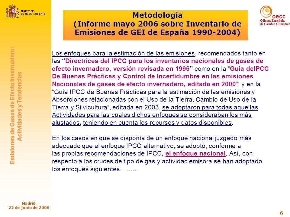 oecc Oficina Española de Cambio Climático Emisiones de Gases de Efecto Invernadero: Emisiones de Gases de Efecto Invernadero: Actividades y Tendencias Actividades y Tendencias Madrid, 22 de junio de 2006 7 Energía: Procesos de Combustión Se ha aplicado, para la estimación de las emisiones de CO2, siempre que ha habido información disponible el balance de masas de carbono, tomando para las características de los combustibles los parámetros nacionales más específicos, facilitados en su caso por las propias fuentes emisoras, caso de los Grandes Focos Puntuales, o derivados de las especificaciones de los combustibles estándar Para los restantes contaminantes se han utilizado: - Factores de emisión de CH4 y N2O tomados, para las fuentes de combustión estacionarias y fuentes móviles (excepto tráfico por carretera), en su práctica totalidad de las referencias de IPCC, EMEP/CORINAIR, CITEPA, y API (American Petroleum Institute) Compendium.