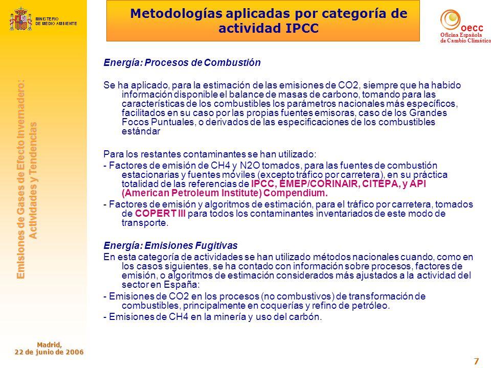 oecc Oficina Española de Cambio Climático Emisiones de Gases de Efecto Invernadero: Emisiones de Gases de Efecto Invernadero: Actividades y Tendencias Actividades y Tendencias Madrid, 22 de junio de 2006 8 Metodologías aplicadas por categoría de actividad IPCC (cont.) Emisiones de CH4, COVNM, y CO2 en el transporte y distribución de gas natural y otros combustibles gaseosos (aire metanado/propanado, propano, gas de fábrica).
