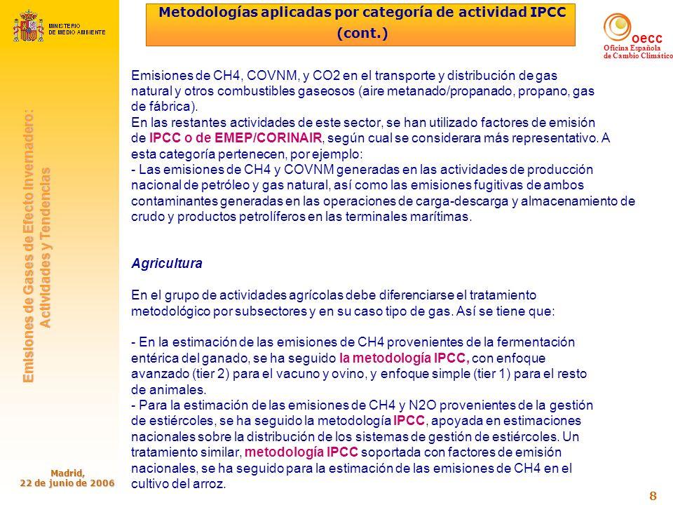 oecc Oficina Española de Cambio Climático Emisiones de Gases de Efecto Invernadero: Emisiones de Gases de Efecto Invernadero: Actividades y Tendencias Actividades y Tendencias Madrid, 22 de junio de 2006 9 Metodologías aplicadas por categoría de actividad IPCC (cont.) En el caso de las emisiones de N2O provenientes de los suelos agrícolas, se ha utilizado la metodología IPCC apoyada, en cuanto a la determinación de parámetros y variables básicas de actividad, en resultados de estudios nacionales.