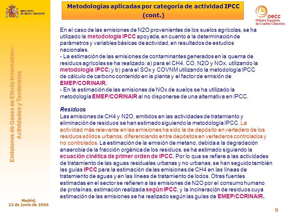 oecc Oficina Española de Cambio Climático Emisiones de Gases de Efecto Invernadero: Emisiones de Gases de Efecto Invernadero: Actividades y Tendencias Actividades y Tendencias Madrid, 22 de junio de 2006 40 Promedio de las emisiones en el periodo 2008-2012: no puede superar en más de un 15% las del año base 1990 No obstante: desarrollo económico insuficiencia de las medidas de mitigación acometidas hasta ahora Emisiones GEI en senda de rápido aumento (En 2004 el aumento de las emisiones supera el 47%) Escenario Interno RESPUESTA ESPAÑOLA AL CAMBIO CLIMÁTICO