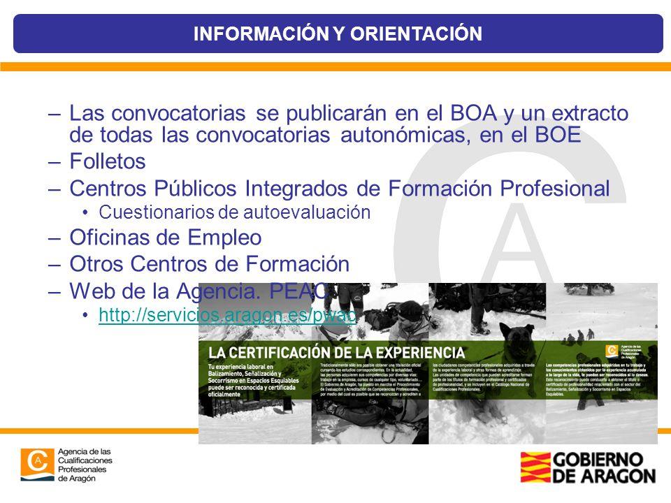 –Las convocatorias se publicarán en el BOA y un extracto de todas las convocatorias autonómicas, en el BOE –Folletos –Centros Públicos Integrados de F
