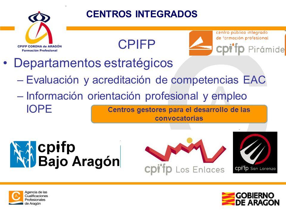 CENTROS INTEGRADOS CPIFP Departamentos estratégicos –Evaluación y acreditación de competencias EAC –Información orientación profesional y empleo IOPE