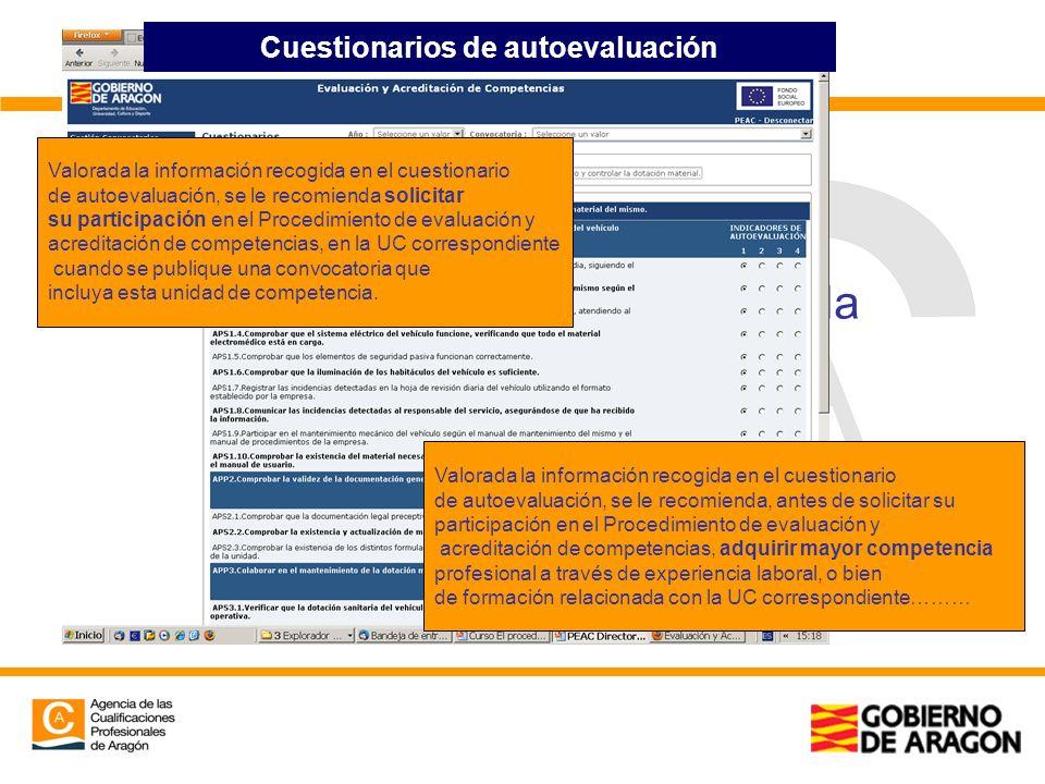 Cuestionarios a través de la aplicación Cuestionarios de autoevaluación Valorada la información recogida en el cuestionario de autoevaluación, se le r