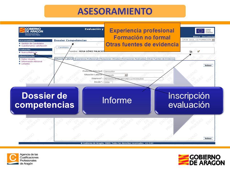 Dossier de competencias Informe Inscripción evaluación ASESORAMIENTO Experiencia profesional Formación no formal Otras fuentes de evidencia