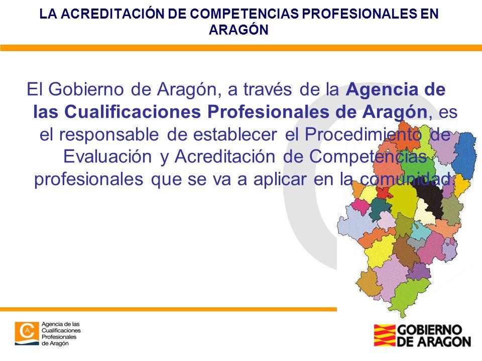 LA ACREDITACIÓN DE COMPETENCIAS PROFESIONALES EN ARAGÓN El Gobierno de Aragón, a través de la Agencia de las Cualificaciones Profesionales de Aragón,