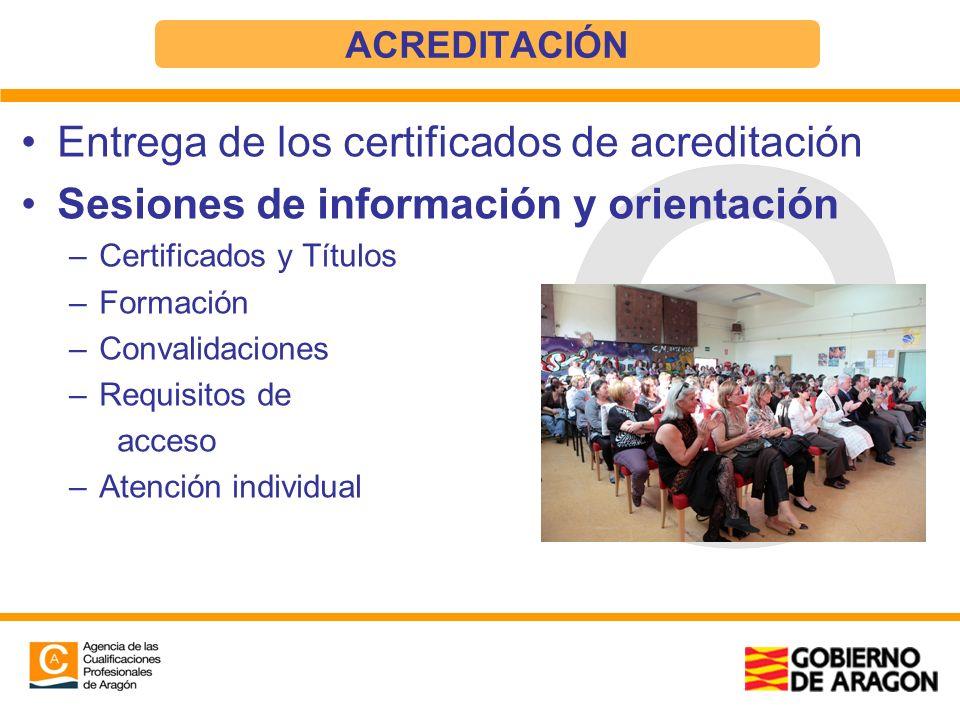 Entrega de los certificados de acreditación Sesiones de información y orientación –Certificados y Títulos –Formación –Convalidaciones –Requisitos de a