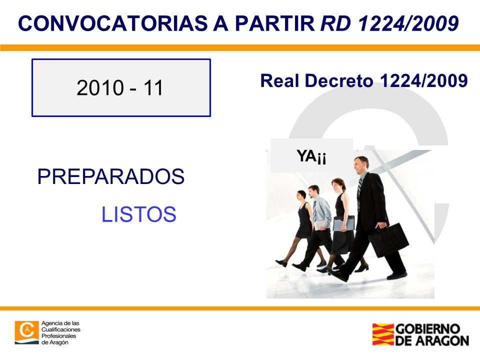CONVOCATORIAS A PARTIR RD 1224/2009 PREPARADOS LISTOS YA¡¡ 2010 - 11 Real Decreto 1224/2009