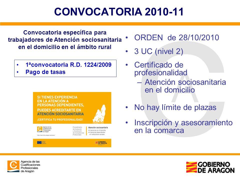 CONVOCATORIA 2010-11 ORDEN de 28/10/2010 3 UC (nivel 2) Certificado de profesionalidad –Atención sociosanitaria en el domicilio No hay límite de plaza
