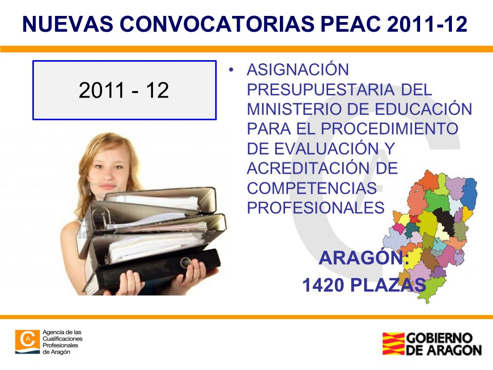NUEVAS CONVOCATORIAS PEAC 2011-12 ASIGNACIÓN PRESUPUESTARIA DEL MINISTERIO DE EDUCACIÓN PARA EL PROCEDIMIENTO DE EVALUACIÓN Y ACREDITACIÓN DE COMPETEN
