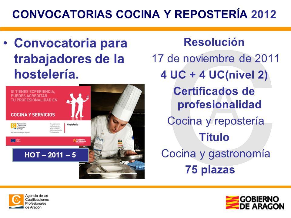CONVOCATORIAS COCINA Y REPOSTERÍA 2012 Convocatoria para trabajadores de la hostelería. Resolución 17 de noviembre de 2011 4 UC + 4 UC(nivel 2) Certif