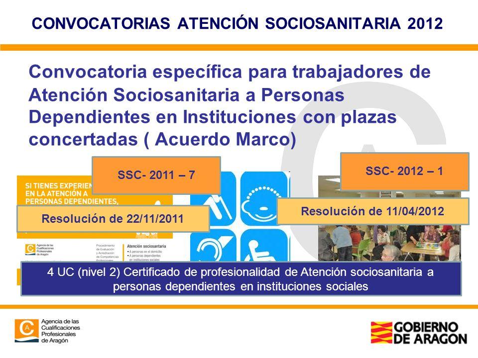 CONVOCATORIAS ATENCIÓN SOCIOSANITARIA 2012 Convocatoria específica para trabajadores de Atención Sociosanitaria a Personas Dependientes en Institucion
